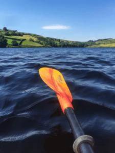 Pagaie orange au dessus de l'eau