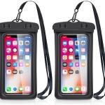 deux smartphones pochettes noir